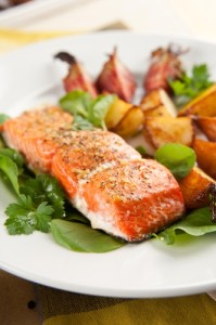 Miso-Steamed Wild Salmon over Rutabaga